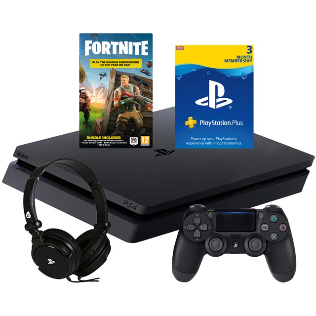 PlayStation 4 500GB with Fortnite (download), Fortnite 500 V BUCKS (download), PS PLUS 90 DAY CARD (Subscription) - Black - P4HEADCST54809 - 1
