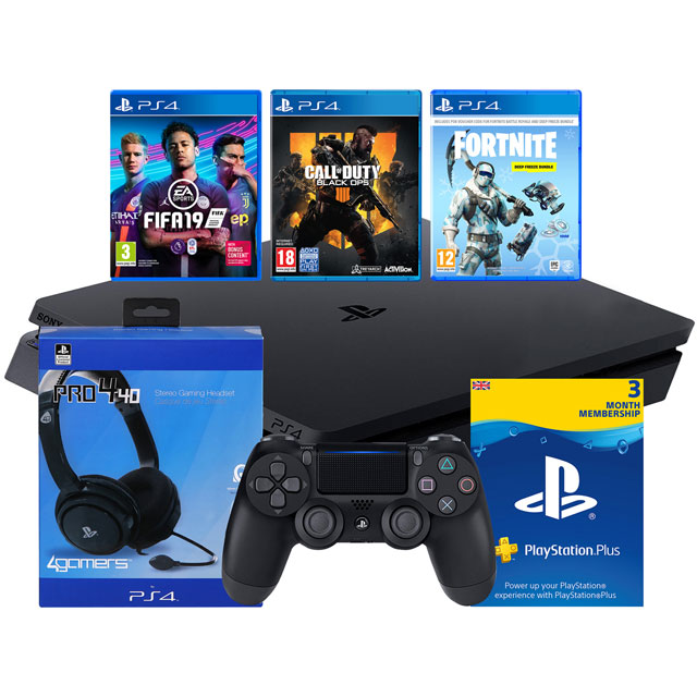 PlayStation 4 1TB with COD Black Ops 4 (Disc), FIFA 19, Fortnite Deep Freeze (Download) Pro4-40 Headset and 90 Day PS Plus Card (Subscription) - Black - P4HEADCST55598 - 1