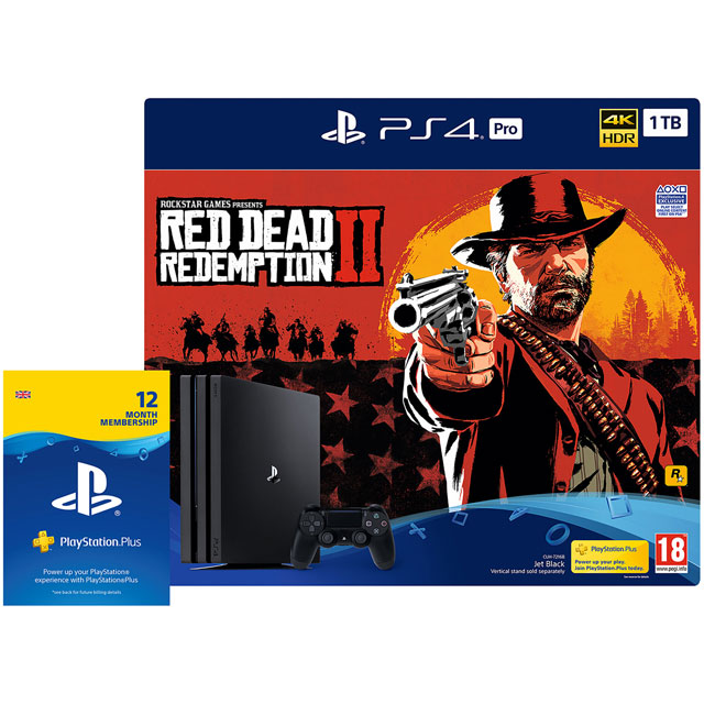 PlayStation 4 Pro 1TB with Red Dead Redemption 2 (Disc) & 12 Month PS Plus Card (Subscription) - Black
