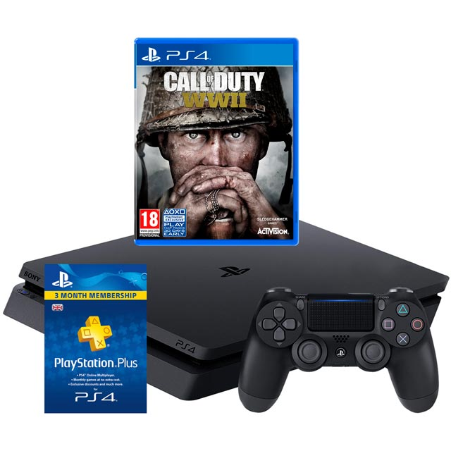 PlayStation 4 500GB with COD WWII and 90 Day PS Plus Card Bundle - Black
