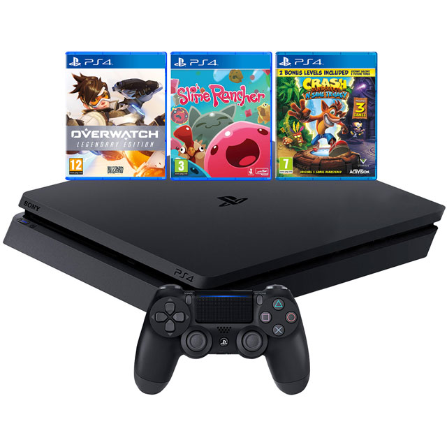 PlayStation 4 1TB with Overwatch, Slime Rancher and Crash Bandicoot - Black