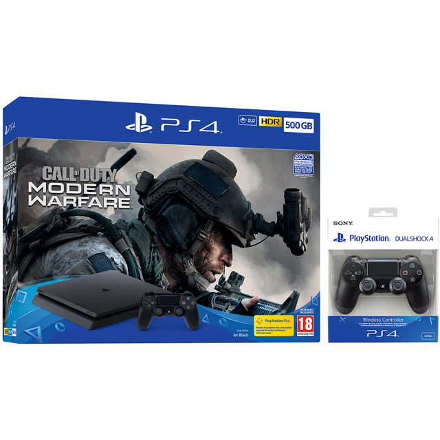PlayStation 4 500GB with Call of Duty Modern Warfare (2019) and Extra DUALSHOCK4 Controller - Black - P4HEHWKIT57256 - 1