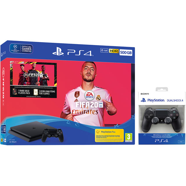 PlayStation 4 500GB with FIFA 20 (Disc) and Extra DUALSHOCK 4 Controller - Black - P4HEHWKIT58523 - 1