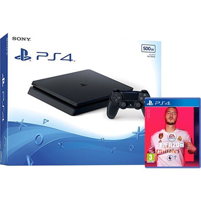 PlayStation 4 500GB with FIFA 20 (Disc) - Black