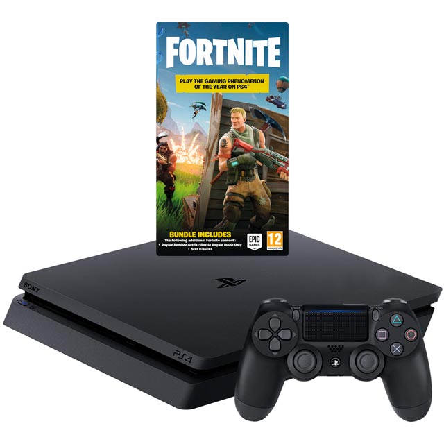 PlayStation 4 500GB with Download Code for Fortnite and Voucher Code for 500 V Bucks Bundle - Black