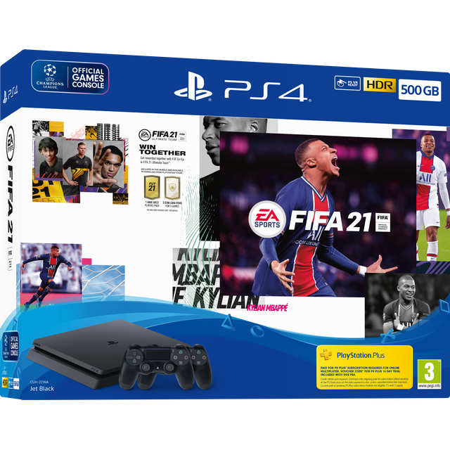 PlayStation 4 500GB with Fifa 21 (Disc) and DualShock 4 Wireless Controller - Black