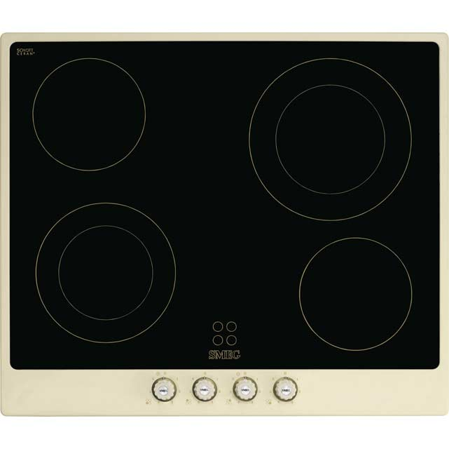 Smeg Cortina P764PO 60cm Ceramic Hob - Cream / Brass