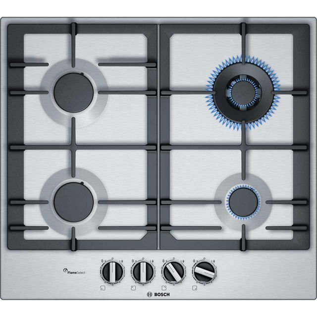 BOSCH PCH6A5B90 Gas Hob – Stainless Steel, Stainless Steel