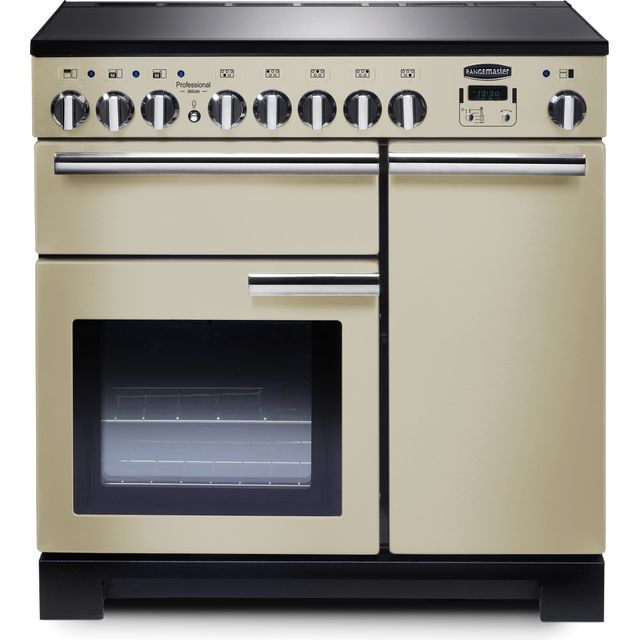 Rangemaster Professional Deluxe PDL90EICR/C 90cm Electric Range Cooker with Induction Hob - Cream / Chrome - A/A Rated - PDL90EICR/C_CR - 1
