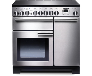Rangemaster Professional Deluxe 90cm Electric Range Cooker with Induction Hob - Stainless Steel / Chrome - A Rated