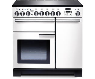Rangemaster Professional Deluxe PDL90EIWH/C 90cm Electric Range Cooker with Induction Hob - White / Chrome - A/A Rated - PDL90EIWH/C_WH - 1