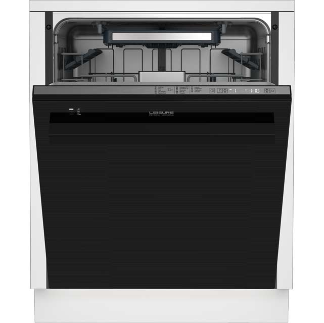 Leisure Patricia Urquiola Fully Integrated Standard Dishwasher - Black Glass with Fixed Door Fixing Kit - A+++ Rated