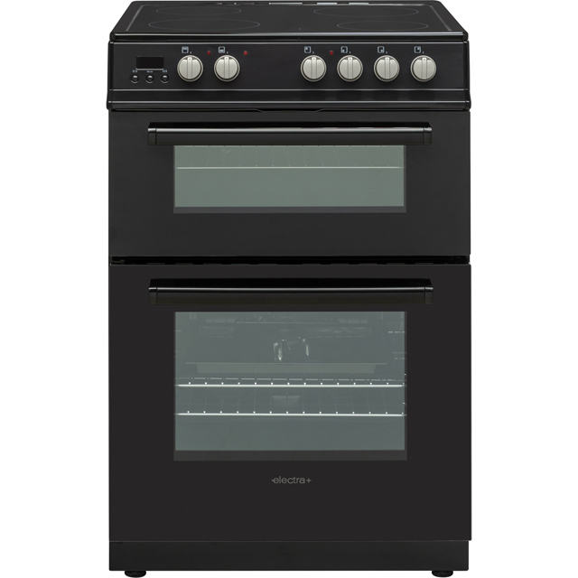 Electra+ PFSDOV6B 60cm Electric Cooker with Ceramic Hob - Black - A Rated Best Price, Cheapest Prices