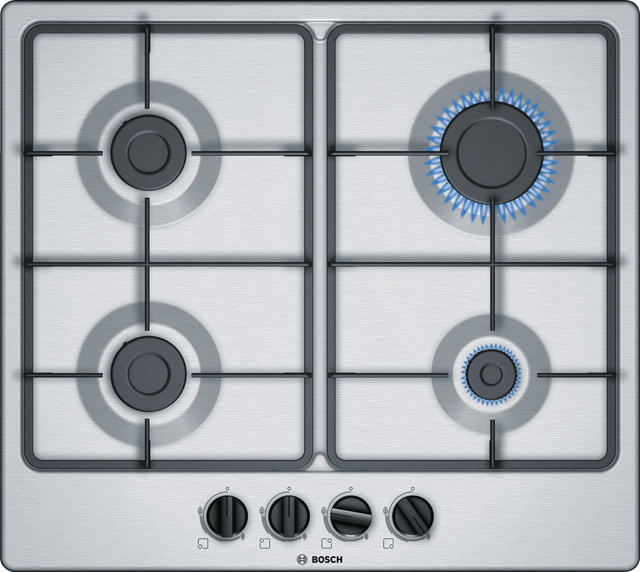 Bosch Serie 4 PGP6B5B60 Built In Gas Hob - Stainless Steel - PGP6B5B60_SS - 1