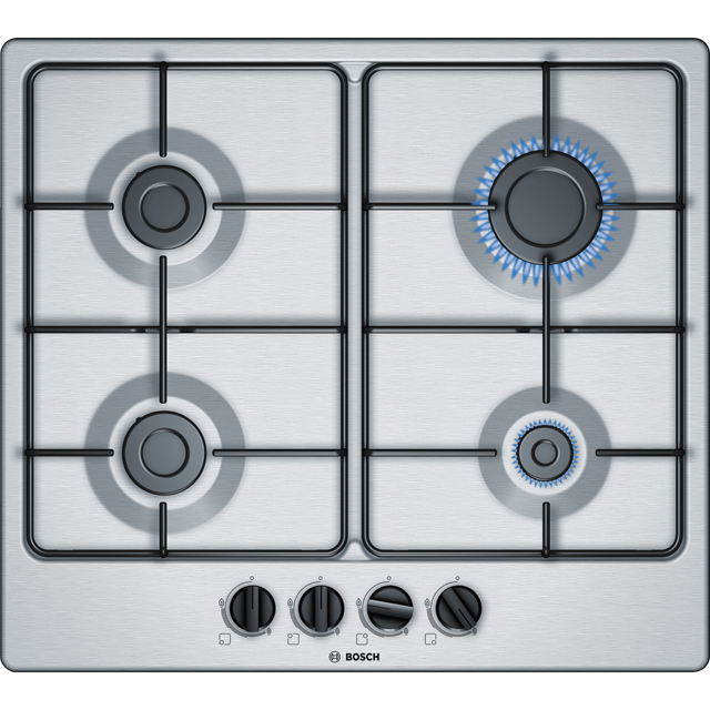 Bosch Serie 4 PGP6B5B80 58cm Gas Hob - Stainless Steel - PGP6B5B80_SS - 1