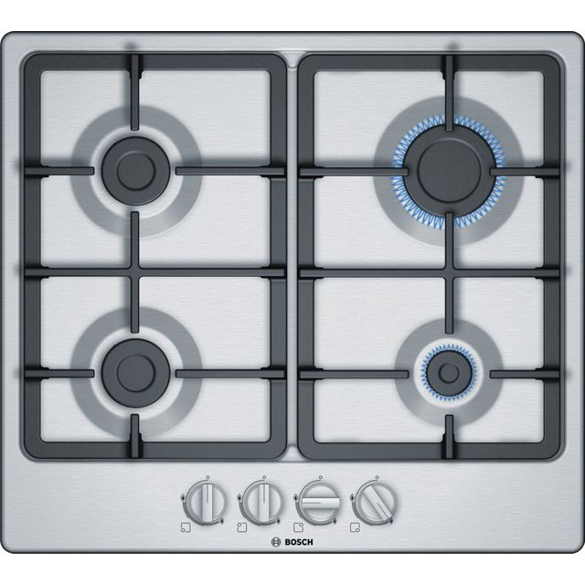 BOSCH Serie 2 PGP6B5B90 Gas Hob – Stainless Steel, Stainless Steel