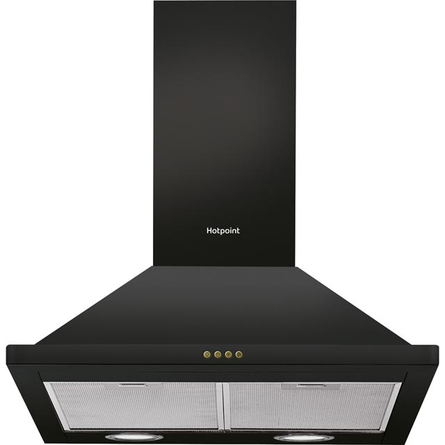 Hotpoint 60 cm Chimney Cooker Hood - Black - C Rated
