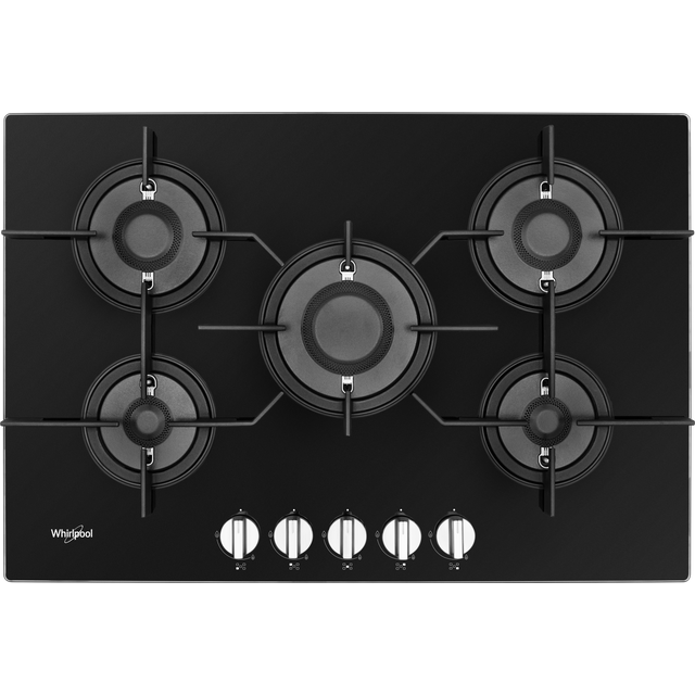 Whirlpool W Collection POW75D2/NB 75cm Gas Hob - Black - POW75D2/NB_BK - 1