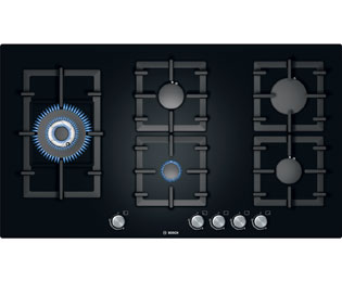 Bosch Serie 6 PPS916B91E 92cm Gas Hob - Black Glass