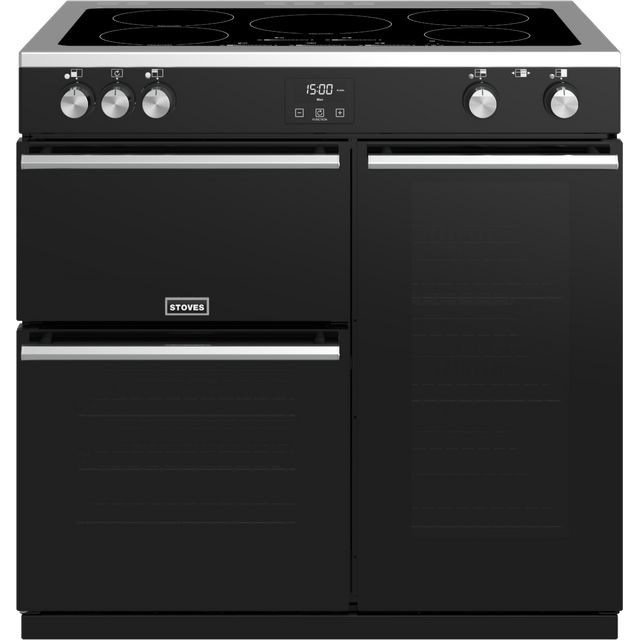 Stoves Precision DX S900Ei 90cm Electric Range Cooker with Induction Hob - Black - A/A/A Rated