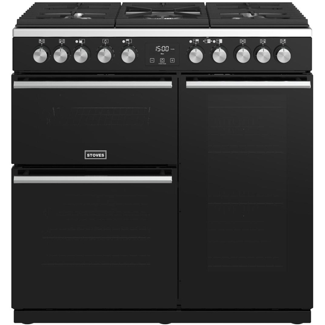Stoves Precision DX S900DF 90cm Dual Fuel Range Cooker - Black - A/A/A Rated - Precision DX S900DF_BK - 1