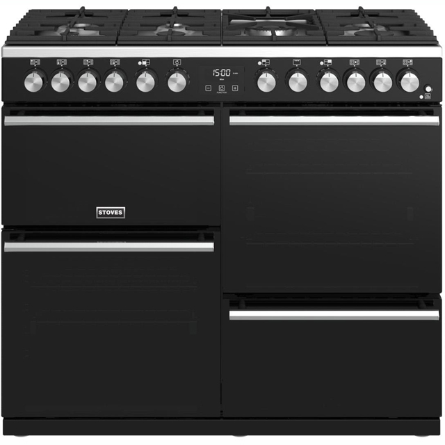 Stoves Precision DX S1000DF 100cm Dual Fuel Range Cooker - Black - A/A/A Rated - Precision DX S1000DF_BK - 1
