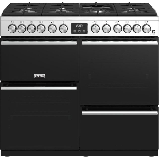 Stoves Precision DX S1000DF 100cm Dual Fuel Range Cooker - Stainless Steel - A/A/A Rated - Precision DX S1000DF_SS - 1