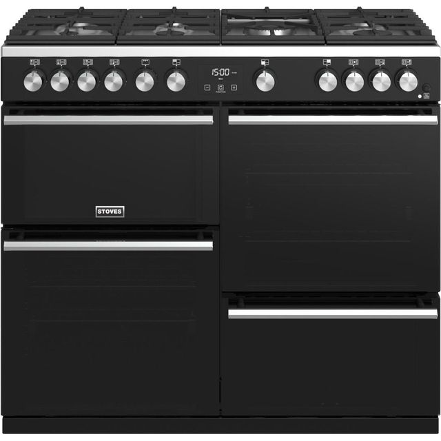 Stoves Precision DX S1000G 100cm Gas Range Cooker with Electric Grill - Black - A/A/A+ Rated - Precision DX S1000G_BK - 1