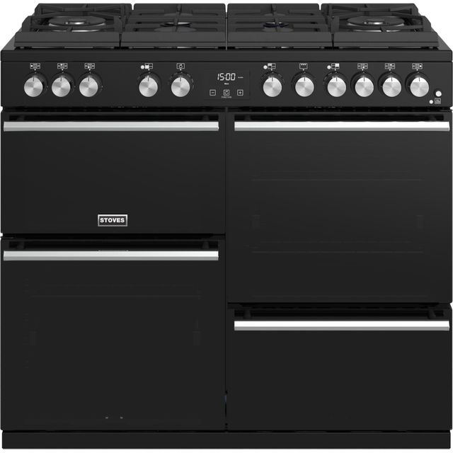 Stoves Precision DX S1000GTG 100cm Dual Fuel Range Cooker - Black - A/A/A Rated