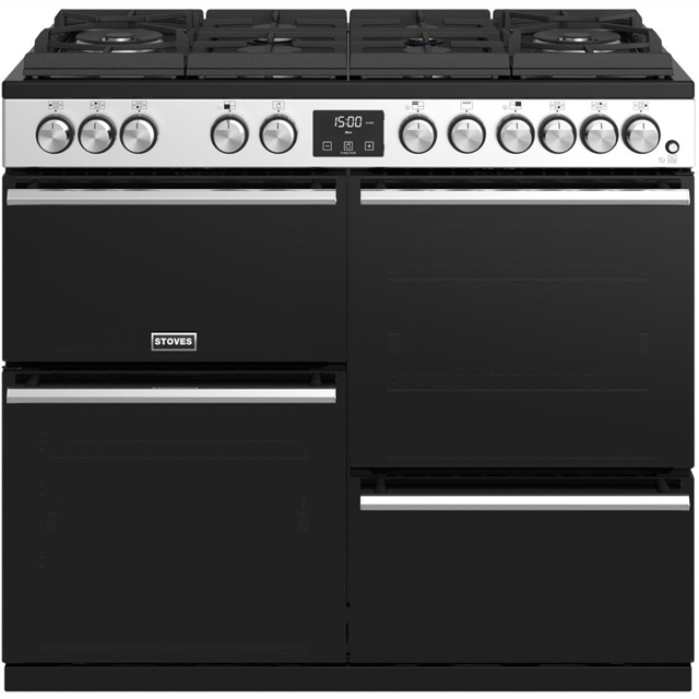 Stoves Precision DX S1000GTG 100cm Dual Fuel Range Cooker - Stainless Steel - A/A/A Rated