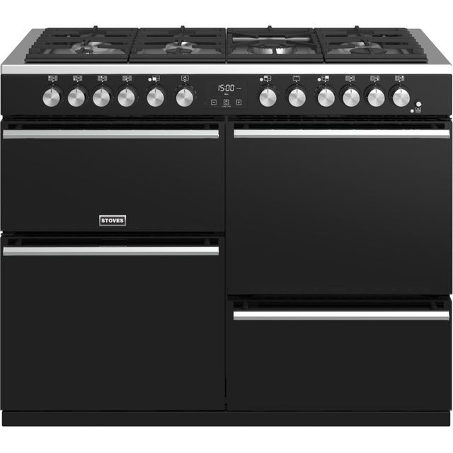 Stoves Precision DX S1100DF 110cm Dual Fuel Range Cooker - Black - A/A/A Rated - Precision DX S1100DF_BK - 1