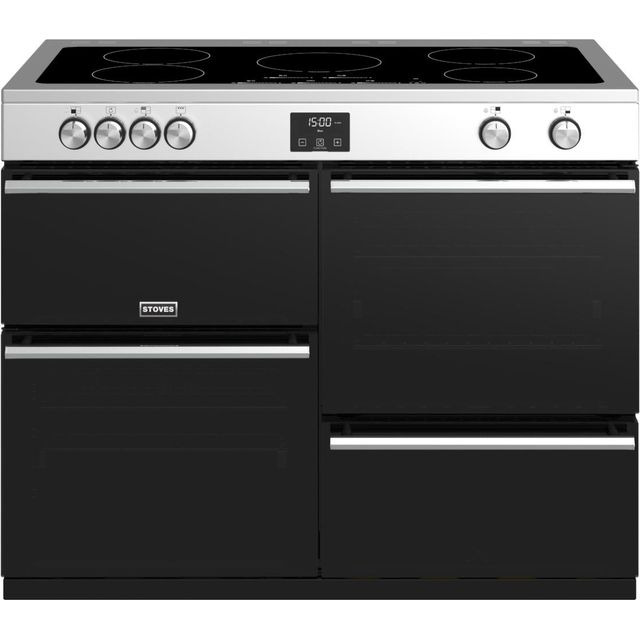 Stoves Precision DX S1100Ei 110cm Electric Range Cooker with Induction Hob - Stainless Steel - A/A/A Rated