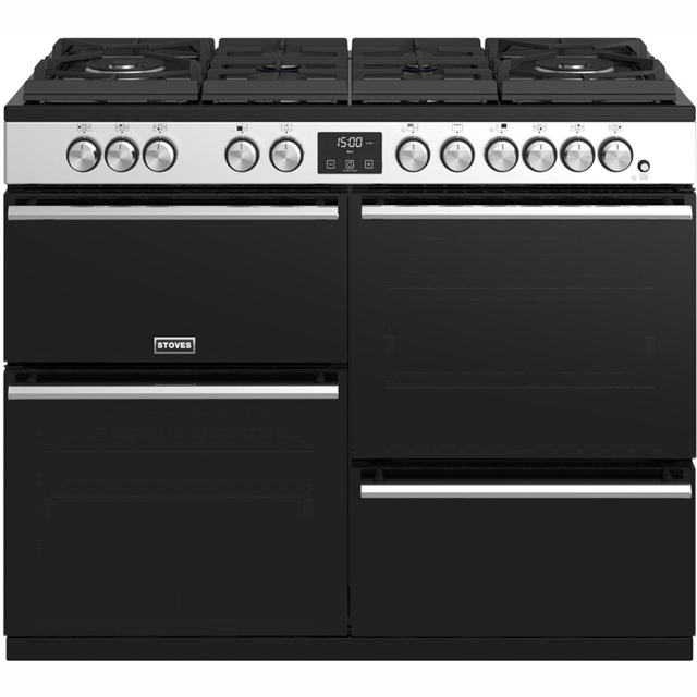 Stoves Precision DX S1100GTG 110cm Dual Fuel Range Cooker - Stainless Steel - A/A/A Rated - Precision DX S1100GTG_SS - 1