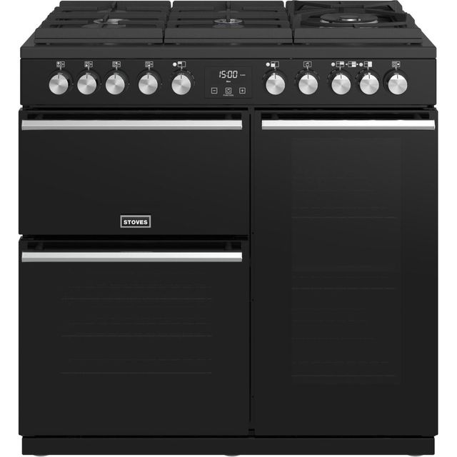 Stoves Precision DX S900GTG 90cm Dual Fuel Range Cooker - Black - A/A/A Rated - Precision DX S900GTG_BK - 1