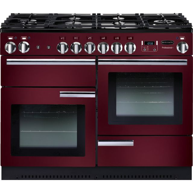 Rangemaster Professional Plus PROP110DFFCY/C 110cm Dual Fuel Range Cooker - Cranberry / Chrome - B Rated