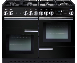 Rangemaster Professional Plus 110cm Dual Fuel Range Cooker - Black / Chrome - B Rated