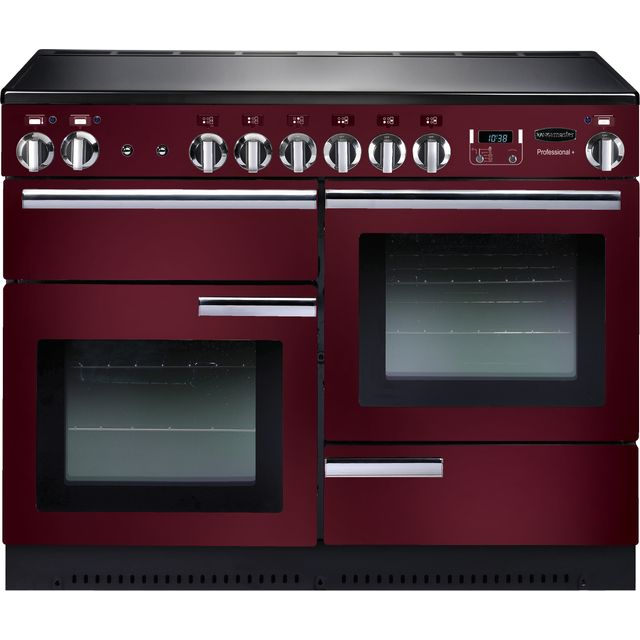 Rangemaster Professional Plus PROP110ECCY/C 110cm Electric Range Cooker with Ceramic Hob - Cranberry / Chrome - A/A Rated