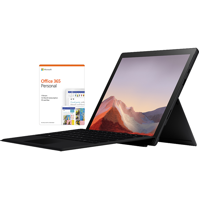 "Microsoft Surface Pro 7 Matte Black 12.3"" with Black Surface Type Cover & Office 365 Personal 1-year subscription - PUV-00017BUNBLK - 1"