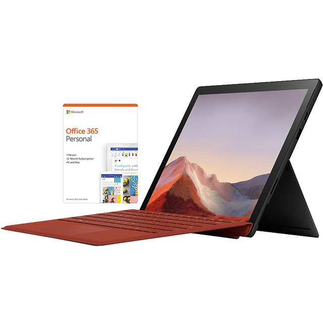 "Microsoft Surface Pro 7 Matte Black 12.3"" with Poppy Red Surface Type Cover & Office 365 Personal 1-year subscription - PUV-00017BUNRED - 1"