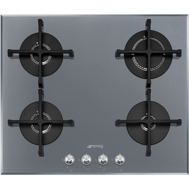 Smeg Gas hob with 4 Burners PV164S2, Glass, Brushed Steel