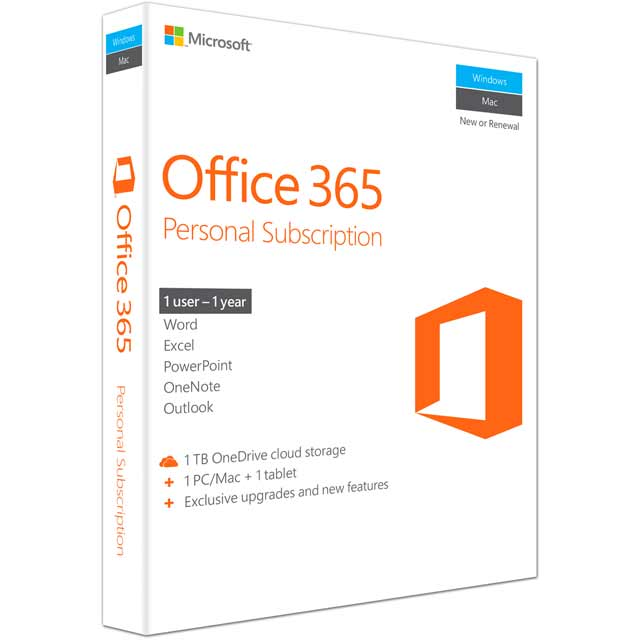 Microsoft Office 365 Personal Digital Download for 1 User - Annual Subscription