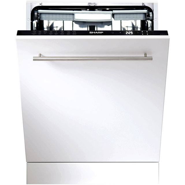 Sharp Fully Integrated Standard Dishwasher - Black with Fixed Door Fixing Kit - A++ Rated