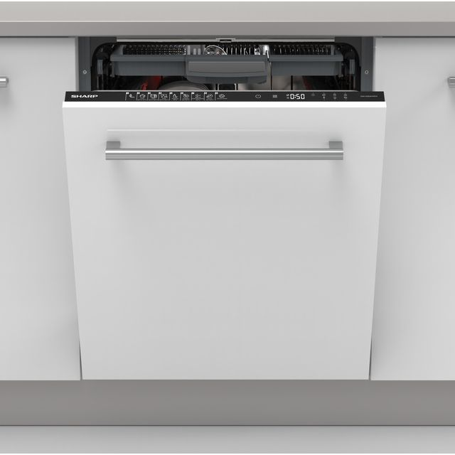 Sharp QW-NI54I44DX-EN Fully Integrated Standard Dishwasher - Black - QW-NI54I44DX-EN_BK - 1