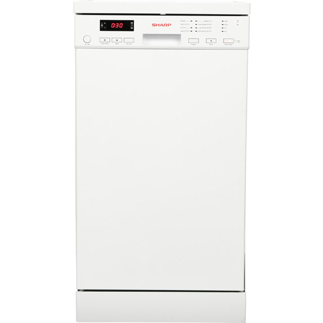 Sharp QW-S22F472W Slimline Dishwasher - White - QW-S22F472W_WH - 1