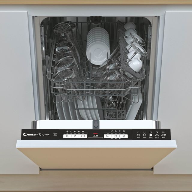 Candy CMIH1L949 Fully Integrated Slimline Dishwasher - Black Control Panel with Fixed Door Fixing Kit - F Rated