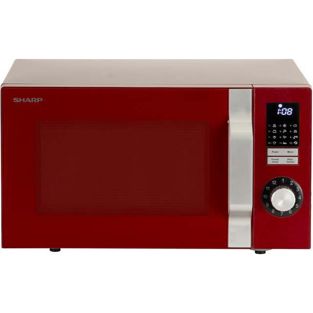 Sharp Microwave R344RDM Free Standing Microwave Oven in Red