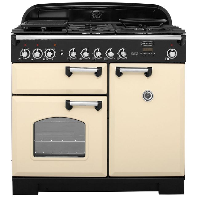 Rangemaster Classic Deluxe CDL100DFFCR/C 100cm Dual Fuel Range Cooker - Cream - A/A Rated - CDL100DFFCR/C_CR - 1