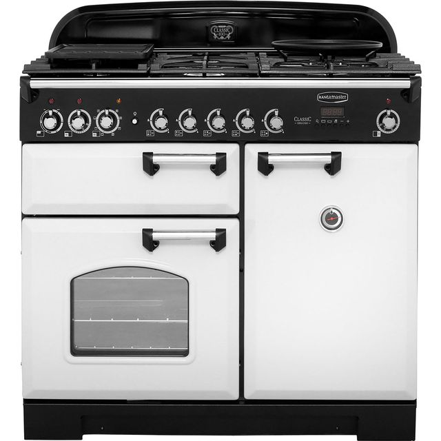 Rangemaster Classic Deluxe CDL100DFFRP/C 100cm Dual Fuel Range Cooker - Royal Pearl - A/A Rated - CDL100DFFRP/C_RP - 1