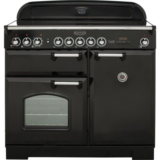 Rangemaster Classic Deluxe 100cm Electric Range Cooker with Induction Hob - Black - A Rated