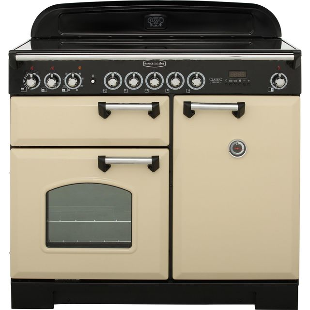 Rangemaster Classic Deluxe 100cm Electric Range Cooker with Induction Hob - Cream - A Rated